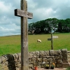 A wooden cross standing at Heavenfield